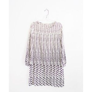 APC A.P.C.Cream Purple Print Silk Shift Dress M